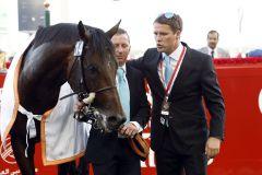 Michael Owen und Brown Panther nach dessen Sieg im Dubai Gold Cup. www.galoppfoto.de - Frank Sorge