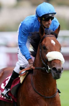 Buzzward mit Ahmed Ajtebi in Longchamp. www.galoppfoto.de