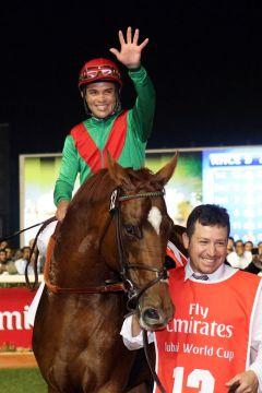 Animal Kingdom mit Joel Rosario nach dem Sieg im Dubai World Cup. www.galoppfoto.de - Frank Sorge