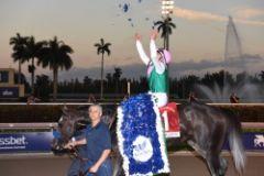 Arrogate unter Mike Smith nach seinem denkwürdigen Triumph. Foto: Gulfstream Park