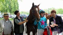 Be My Star nach seinem Sieg im Ausgleich für Dreijährige am 21.05.2016 in Mülheim (Foto: Dr. Jens Fuchs)