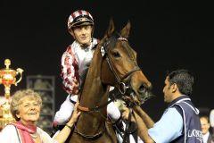 Cirrus des Aigles mit Olivier Peslier als Sieger der Dubai Sheema Classic. www.galoppfoto.de