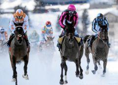 Der Sieger im Großen Preis von St. Moritz ist mittlerweile in Schweizer Besitz, ist aber deutsch gezogen - Nimrod (Mitte) gewinnt unter Jockey Maxim Pecheur. www.swiss-image.ch - Andy Mettler