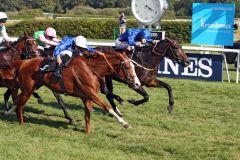 Ein Doppelsieg für die berühmten Godolphin-Farben: Innen siegt Dark Vision unter Jockey Francis Norton vor der eigentlich favorisierten Stute Half Light, auf dem 3. Platz kommt Rubaiyat als bestes deutsches Pferd. www.galoppfoto.de - Sabine Brose