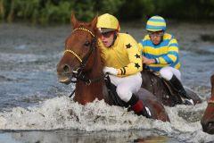 Gelon mit Oliver Schnakenberg ist der Sieger im Seejagdrennen. www.galoppfoto.de - Frank Sorge