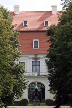 Gestüt Graditz, Detailansicht des restaurierten Gestütsportals. www.galoppfoto.de