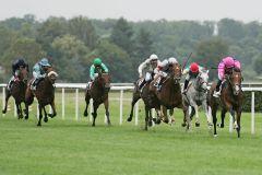 Gleich zwei Derbystarter 1-2: See The Rock (r.) mit Eduardo Pedroza vor Saratino mit Harry Bentley, hinter Blue Wave folgt mit dem Schimmel Erlkönig ein weiterer Derby-Teilnehmer auf Rang 4. www.galoppfoto.de - Sarah Bauer