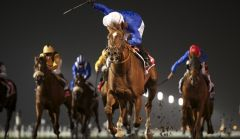 Hunter's Light als Gr. I-Sieger in der Al Maktoum Challenge. www.emiratesracing.com