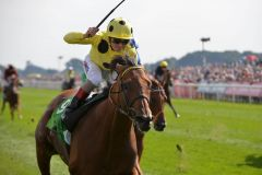 Postponed mit Andrea Atzeni siegreich in den Juddmonte International, Gr. I, in York. www.galoppfoto.de - John James Clark