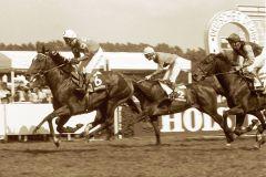 Karloff mit Jockey Mark Rimmer gewinnt das Deutsche Derby 1990. www.galoppfoto.de - Frank Sorge