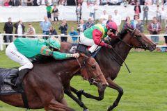 Kleopatra Kimberly gewinnt mit Francisco da Silva im Dreijährigen-Rennen in Bad Doberan. www.galoppfoto.de - Frank Sorge