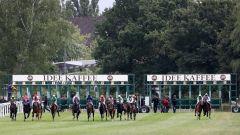 Start zum IDEE 150. Deutschen Derby, 15 Pferde laufen. Foto: Dr. Jens Fuchs