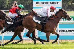 Zweiter Sieg innerhalb von 14 Tagen für Let me know. www.galoppfoto.de - Sabine Brose