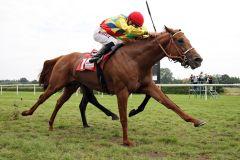 Lord Dubai mit Riesenschritten zum Sieg mit Filip Minarik. www.galoppfoto.de - Sabine Brose