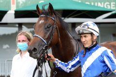 Majestic Colt mit Bauyrzhan Murzabayev nach dem Sieg im Listenrennen in Hannover. www.galoppfoto.de - Sabine Brose