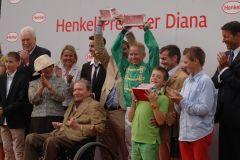 Siegerehrung mit Heinz Harzheim, Rolf Harzheim (verdeckt) Filip Minarik und Peter Schierge. Foto: Gabriele Suhr