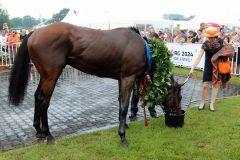 Der Derbysieger Nutan mit Gisela Schiergen. Foto: Dr. Jens Fuchs