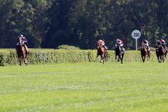 Da war der Vorsprung von streckenweise über 22 Längen schon erheblich geschmolzen, im Ziel waren es nur noch drei Längen .... www.galoppfoto.de - Sabine Brose
