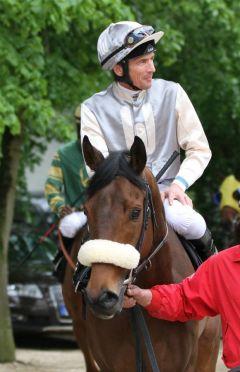 Pacha (Big Shuffle) gehört nach seinem Frankfurter Auftritt mit Adrie de Vries nun auch zu den Siegern. Foto: Christine Semm
