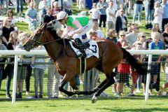 Parviz mit Marc Lerner gewinnt im hannoverschen Derby-Trial. www.galoppfoto.de - Frank Sorge