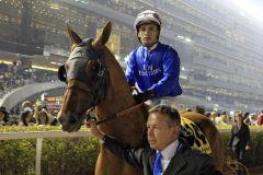 Rio de la Plata - hier mit Silvestre de Sousa in Dubai - wird Deckhengst im Haras du Logis. www.galoppfoto.de - Frank Sorge