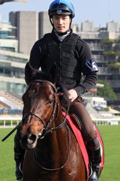 Saonois mit seinem Derbysiegreiter Antoine Hamelin bei der Morgenarbeit in Hong Kong. www.galoppfoto.de - Frank Sorge