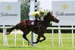 Sarandia gewinnt unter Daniele Porcu im Baden-Badener Maiden. www.galoppfoto.de - Sarah Bauer