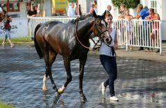 Kalt abgeduscht: Sarina nach ihrem Hamburger Sieg am 04.07.2015. Foto: Dr. Jens Fuchs