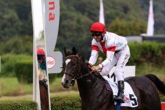 Das Gesicht des Jockeys sagt alles: Starwood und Adrie de Vries nach dem erfolgreichen Debut. Foto: Dr. Jens Fuchs