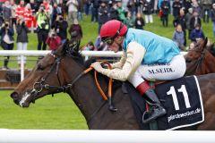 Weitsicht kommt in einem mutmaßlich gut besetzten Maidenrennen unter Martin Seidl zu einem sicheren Sieg. www.galoppfoto.de - Sabine Brose