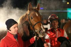 Western Queen mit Alexander Pietsch nach dem Sieg am 26.01.2015 in Neuss. Foto: Dr. Jens Fuchs