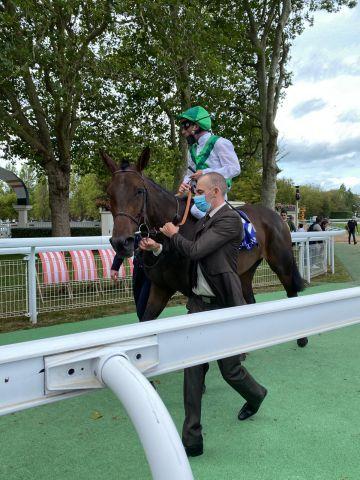 Auf dem Weg zum Absattelring: Tickle Me Green mit Pierre-Charles Boudot nach Platz 2 im Prix de la Nonette, Gr. II. Foto: Catrin Nack