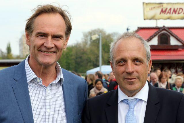 Das wird es an diesem 1. Mai nicht geben: Leipzigs OB Burkhard Jung und Alexander Leip. www.galoppfoto.de