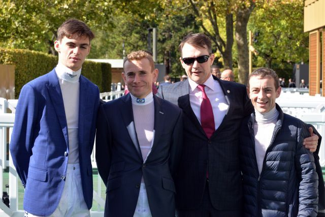 Der Längste steht links: Donnacha O'Brien, Ryan Moore, Aidan O'Brien und Wayne Lordan. www.galoppfoto.de - JJ Clark