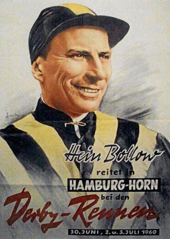Ein Star - gestern wie heute: Hein Bollow. Foto Plakat Hamburger Renn-Club - Filip Minarik