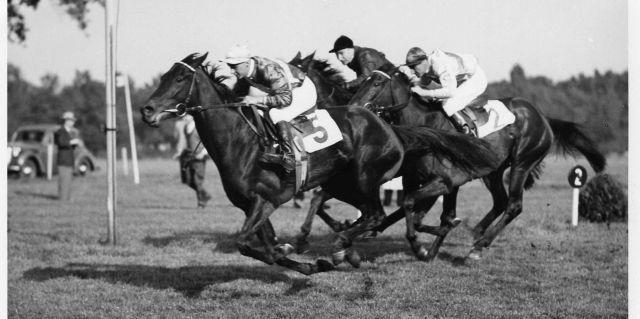 Vergangene große Zeiten in Mülheim mit bedeutenden Rennen mit dem  Deutschen Stutenpreis, in dem die Siegerin 1952 Windstille (Ossi Langner) hieß. Foto: Archiv Ravensberg