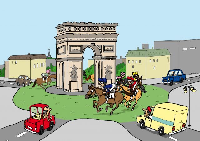 Sieben Jahre nach dem Triumph von Danedream soll Waldgeist die deutschen Fahnen im Prix de l'Arc de Triomphe hochhalten. ©miro-cartoon