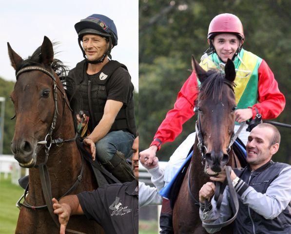 Aus Napoleon - hier mit Eycke Schulze-Othersen nach dem Sieg im Bauernrennen - wurde Apoleon, der mit Nicola Sechi das Halbblutrennen in Hannover gewann. www.galoppfoto.de - Frank Sorge