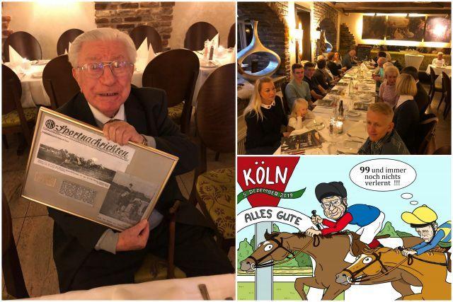 Gerührt: Hein Bollow an seinem 99. Geburtstag mit einem besonderem Geschenk. Fotos privat/Karrikatur ©Miro