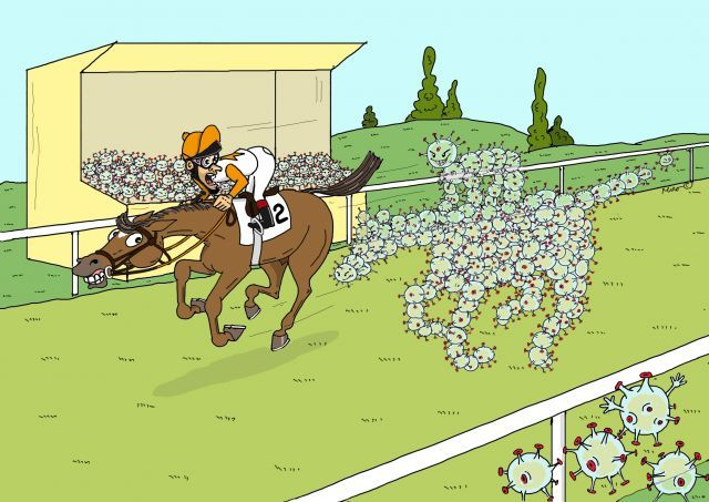 Die Corona-Epidemie breitet sich aus ... auch der deutsche Galopprennsport ist lahmgelegt. ©miro-cartoon