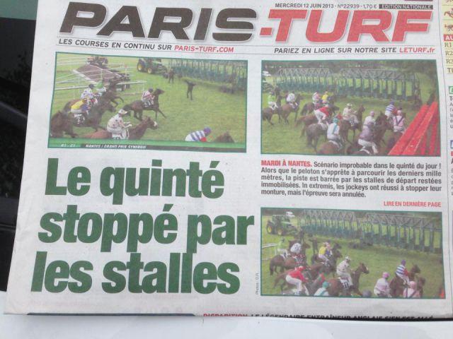 Das war sogar die Titelgeschichte der Paris-Turf ...