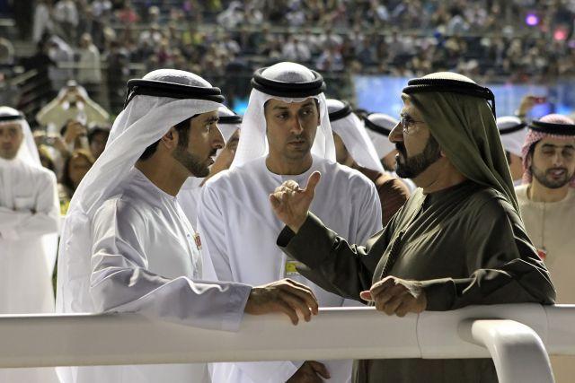 Das waren noch bessere Zeiten für Trainer Mahmood al Zarooni (MItte) - hier mit Sheikh Mohammed bin Rashid al Maktoum (rechts) und dessen Sohn Hamdan bin Mohammed al Maktoum. www.galoppfoto.de - Frank Sorge