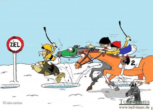 Das White Turf-Meeting auf dem zugefrorenen St. Moritzersee ist immer für eine Überraschung gut ... ©miro-cartoon