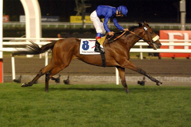 Der Tiger Hill-Sohn Rewilding gewinnt die Dubai Sheema Classic mit Frankie Dettori. www.galoppfoto.de - Peo Ploff