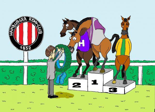 The winner takes it all ... 1st Nutan, 2nd Palace Prince, 3rd Fair Mountain. ©miro-cartoon