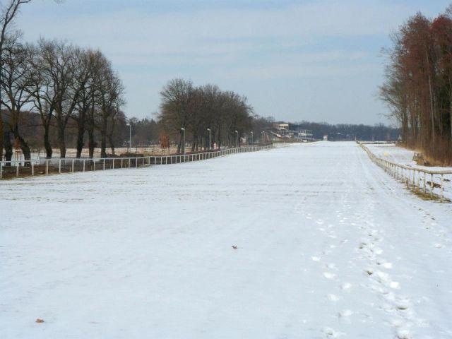 Die Rennbahn Hoppegarten - auch 1000 Meter vor dem Ziel liegt noch der Schnee. Foto: Joachim Möller
