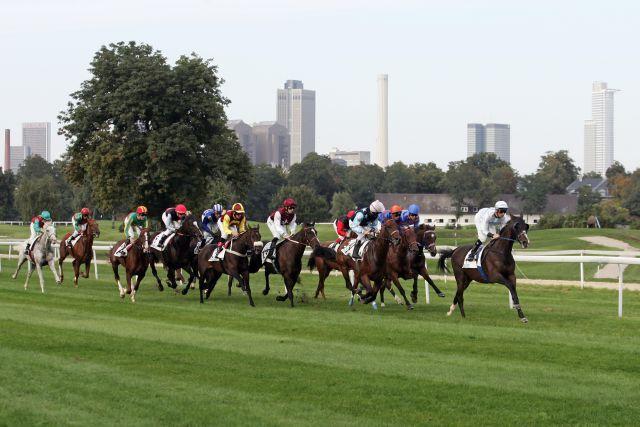 Frankfurt am Main, Pferde und Jockeys im Rennen. www.galoppfoto.de - Sarah Bauer