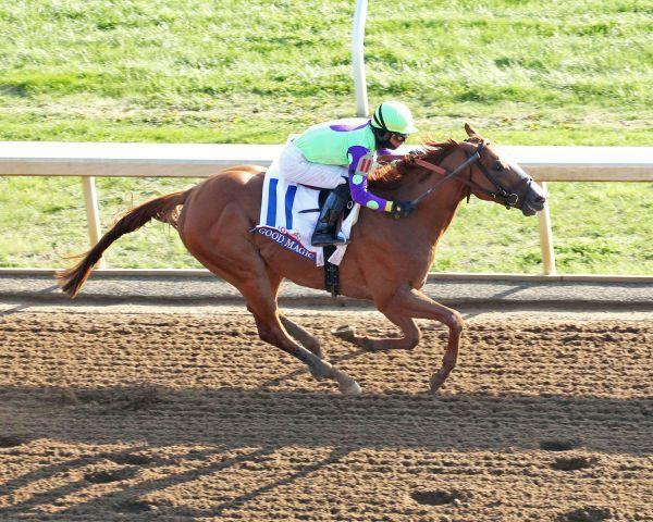 Good Magic holt sich die Blue Grass Stakes und marschiert jetzt Richtung Kentucky Derby. Foto: Keeneland