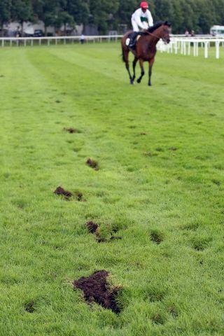 Der Regen hat den Boden aufgeweicht, mit Rücksicht auf das Derby wurden die Trabrennen gestrichen. www.galoppfoto.de - Frank Sorge
