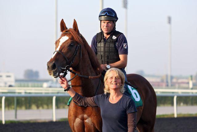 Hier arbeitet der Trainer noch selbst: Girolamo mit Peter Schiergen im Sattel und Ilke Hildebrandt in Dubai. www.galoppfoto.de - Frank Sorge